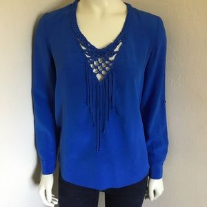 Rebecca Taylor Blue Silk Fringe Blouse Top S 2 4